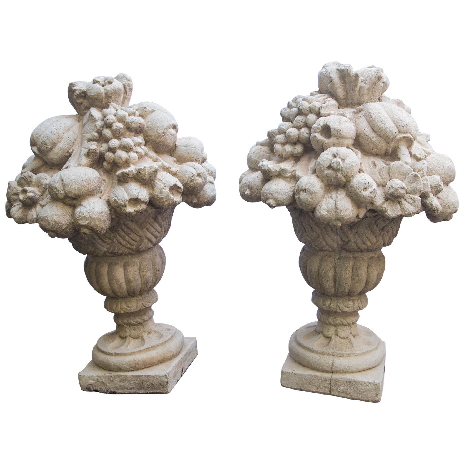 Pair of Cast Cement Fruit Basket Garden Ornaments