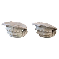 Pair of Cast Cement Shell Planters