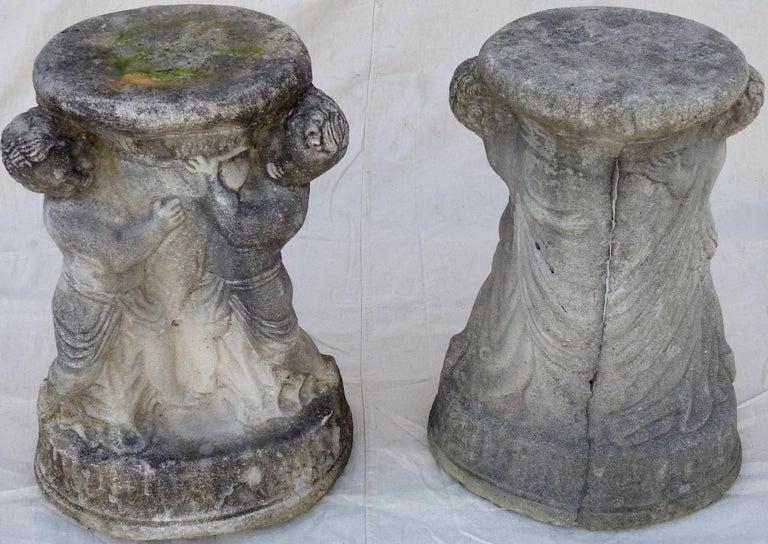 Cast Stone Cherub Pedestals Pair For Sale 5