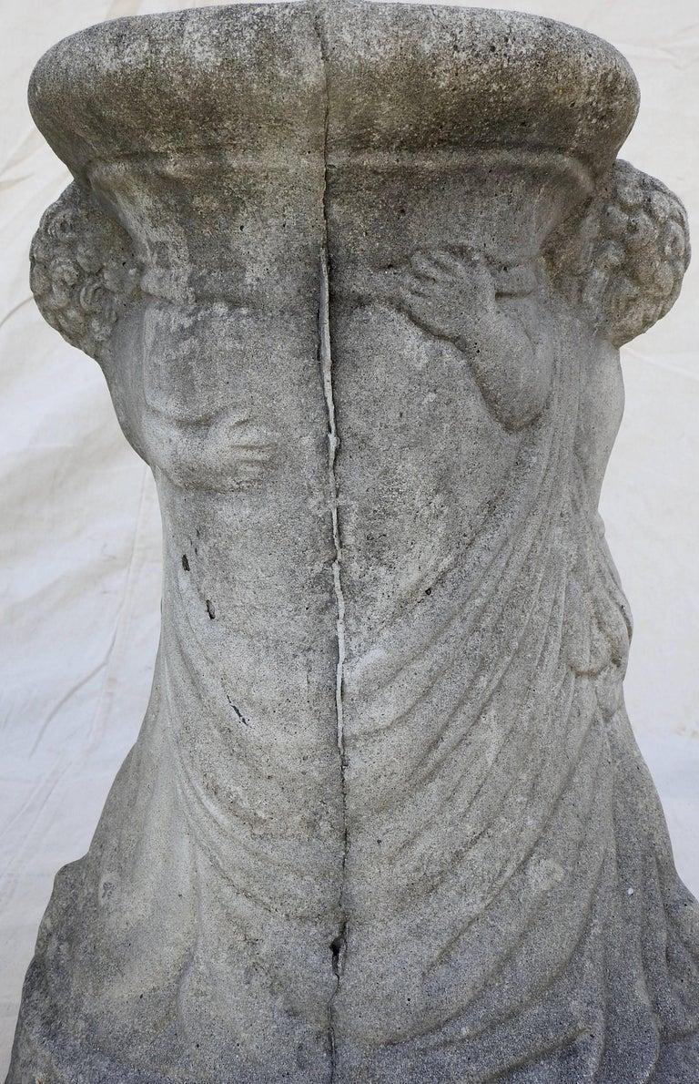 Cast Stone Cherub Pedestals Pair For Sale 6