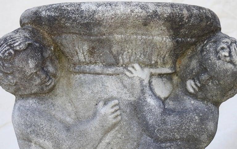 Cast Stone Cherub Pedestals Pair For Sale 10