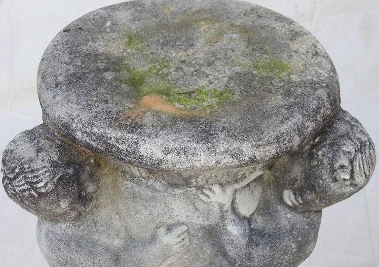 Cast Stone Cherub Pedestals Pair For Sale 11