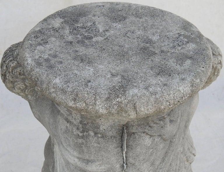 Cast Stone Cherub Pedestals Pair For Sale 12