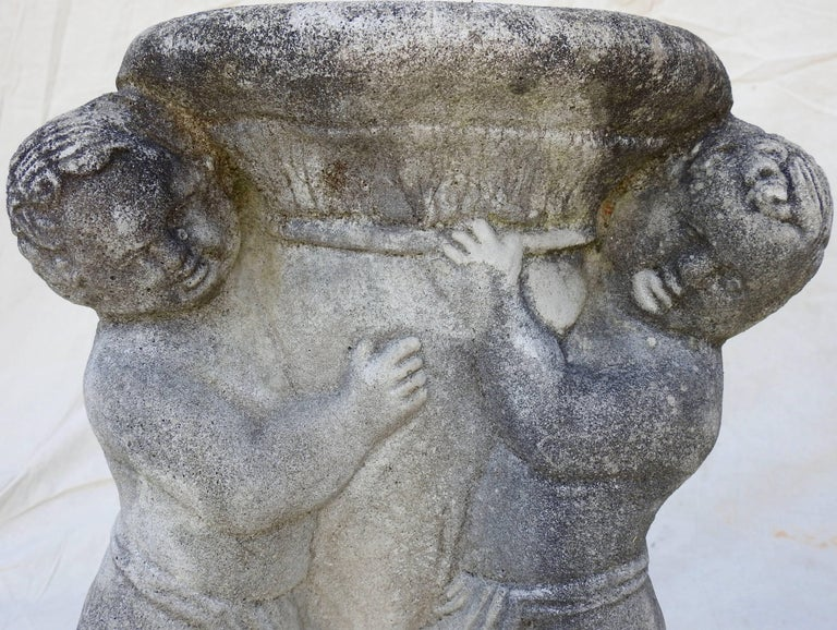 Contemporary Cast Stone Cherub Pedestals Pair For Sale