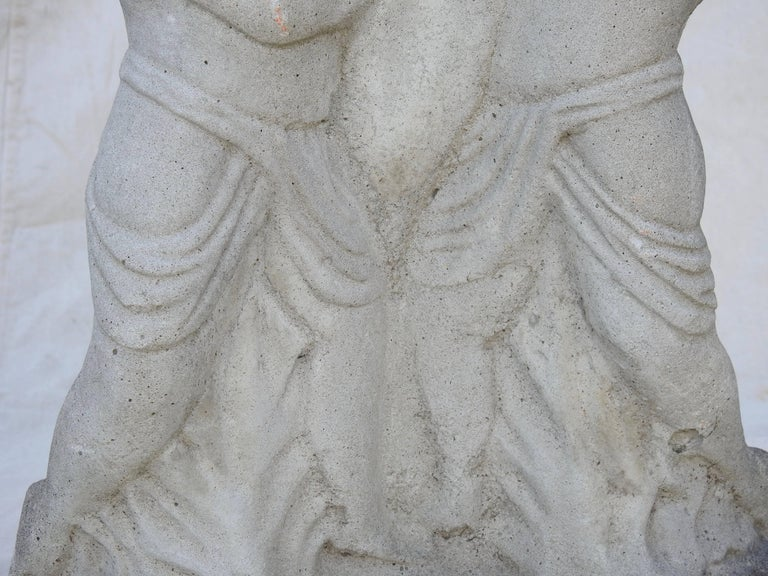 Cast Stone Cherub Pedestals Pair For Sale 1