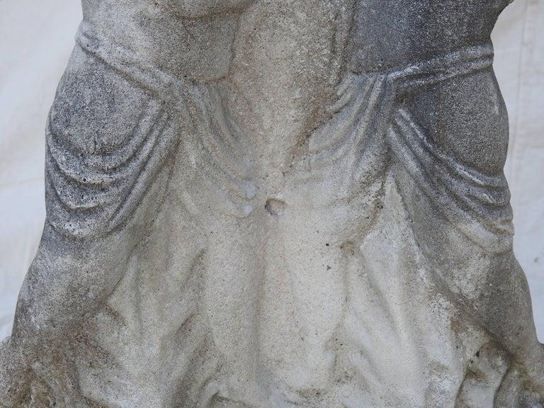 Cast Stone Cherub Pedestals Pair For Sale 2