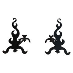 Pair of Cast Iron and Wrought Ironandirons, French, circa 1940