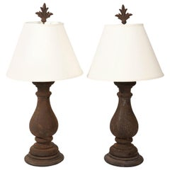 Pair of Cast Iron Baluster Lamps