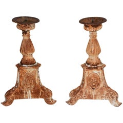 Pair of Cast Iron Candleholders with Vignettes, Vintage
