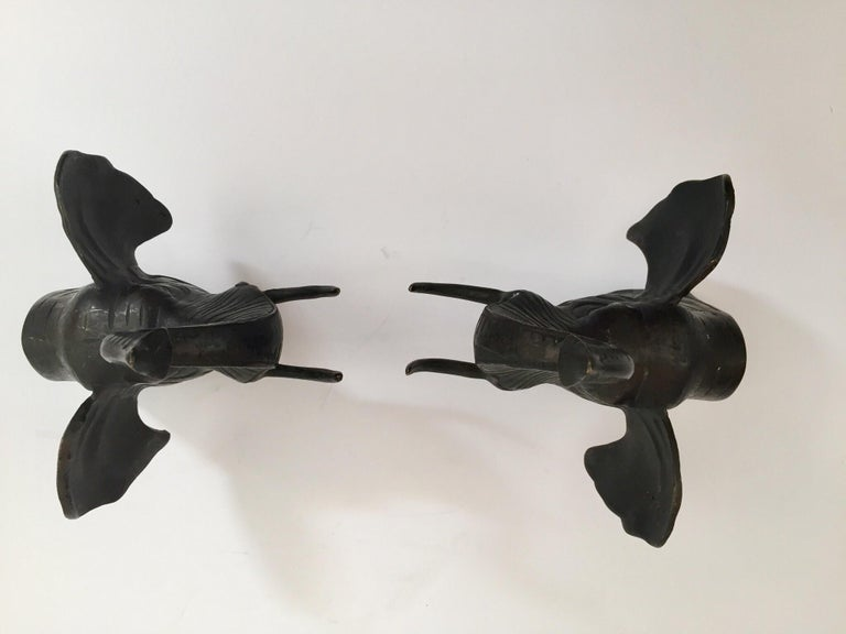 Pair of Cast Iron Elephant Heads Bookends For Sale 3