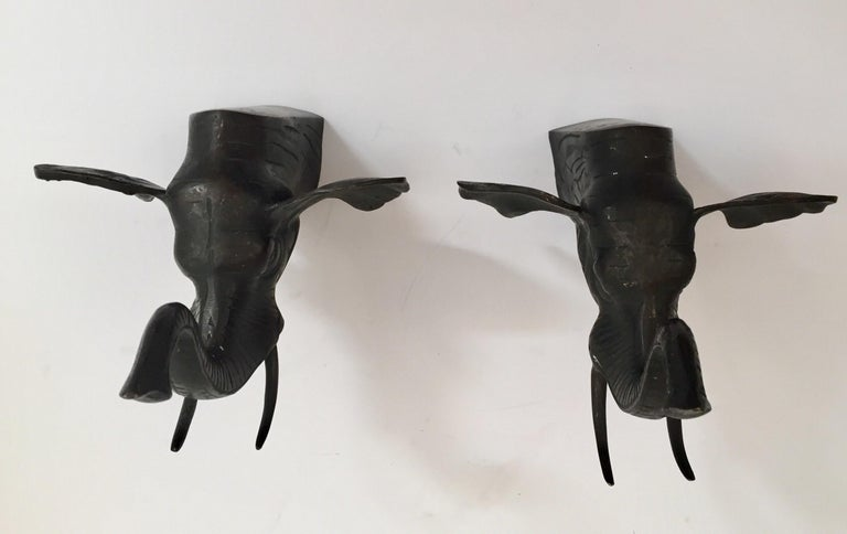 Pair of Cast Iron Elephant Heads Bookends For Sale 7