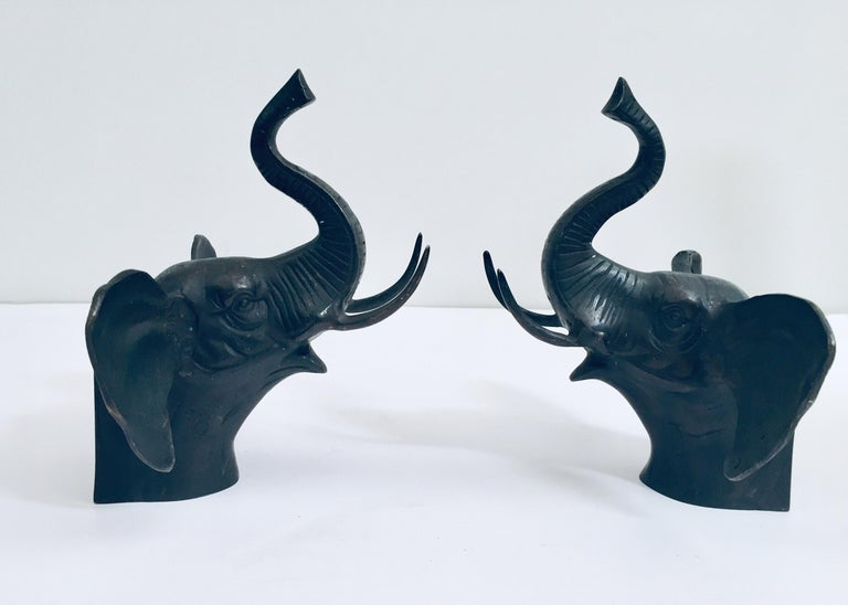 Indian Pair of Cast Iron Elephant Heads Bookends For Sale