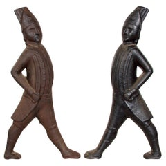 Pair of Cast Iron, Finely Detailed Hessian Soldiers, Late 19th Century