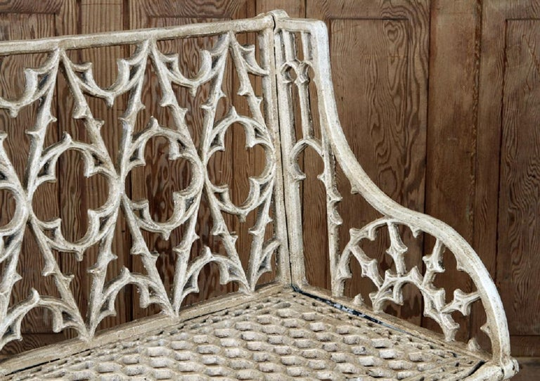 Pair of Cast Iron Garden Benches in the Manner of Coalbrookdale, 20th Century In Good Condition For Sale In Savannah, GA