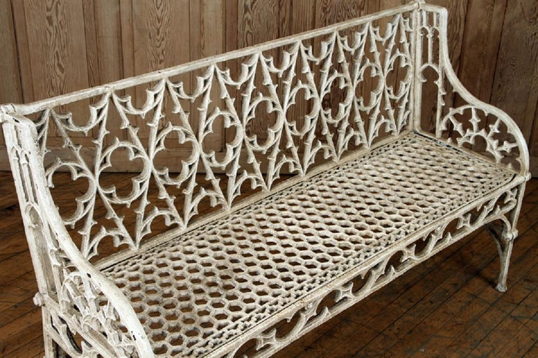 Pair of Cast Iron Garden Benches in the Manner of Coalbrookdale, 20th Century For Sale 1