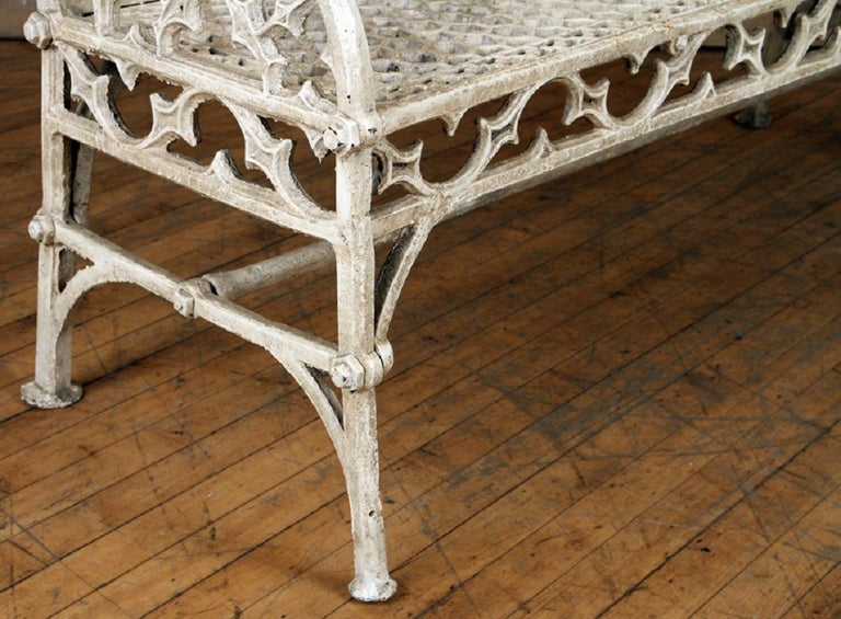 Pair of Cast Iron Garden Benches in the Manner of Coalbrookdale, 20th Century For Sale 2