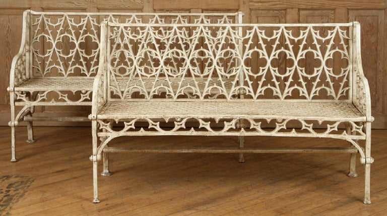 Pair of Cast Iron Garden Benches in the Manner of Coalbrookdale, 20th Century For Sale 3