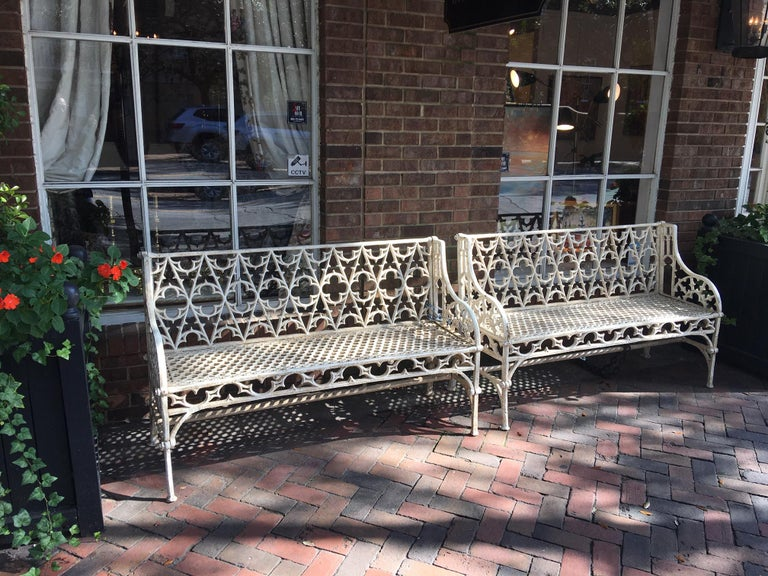 Pair of Cast Iron Garden Benches in the Manner of Coalbrookdale, 20th Century For Sale 4
