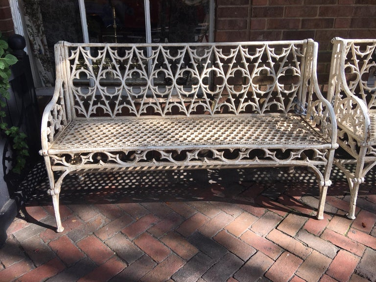Pair of Cast Iron Garden Benches in the Manner of Coalbrookdale, 20th Century For Sale 5