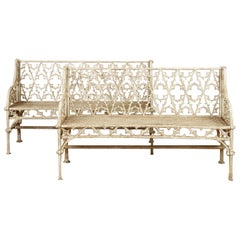 Pair of Cast Iron Garden Benches in the Manner of Coalbrookdale, 20th Century