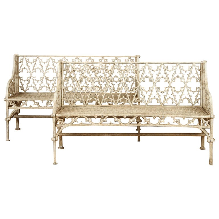 Pair of Cast Iron Garden Benches in the Manner of Coalbrookdale, 20th Century For Sale