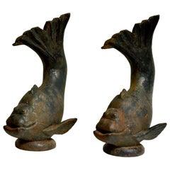 Pair of Cast-Iron Garden Fountain Fish Sculptures, Sweden 1930s