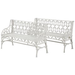 Pair of Cast Iron Gothic Style Garden Benches