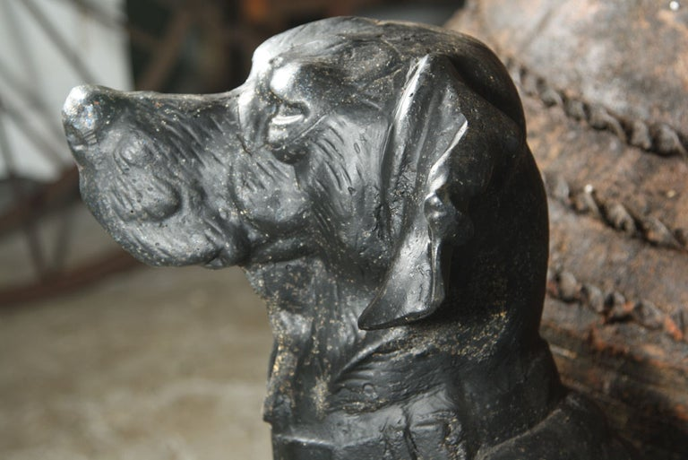 Pair of Cast Iron Hunting Dog Statues For Sale 1