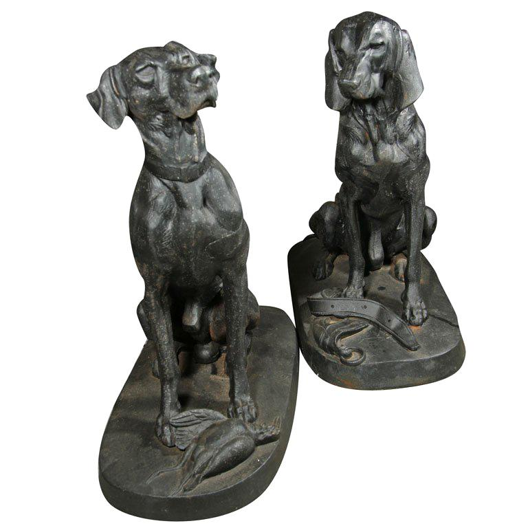 Pair of Cast Iron Hunting Dog Statues For Sale