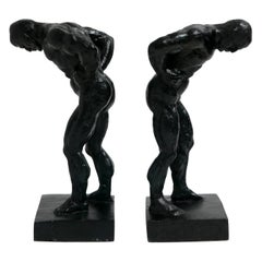 Pair of Cast Iron Muscular Male Figural Bookends