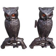 Pair of Cast Iron Perched Owl Andirons with Amber Glass Eyes, Boston, Circa 1890