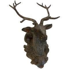 Pair of Cast Iron Stag/Buck Heads on Scroll and Foliate Backplate Estate Patina