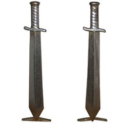 Pair of Cast Iron Sword Andirons, circa 1910