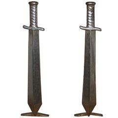 Pair of Cast Iron Sword Andirons, circa 1910