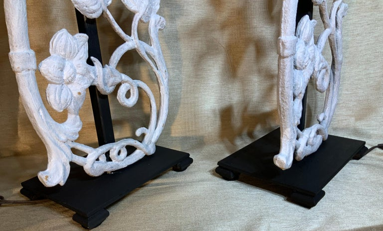 Pair of Cast Iron Table Lamps For Sale 5