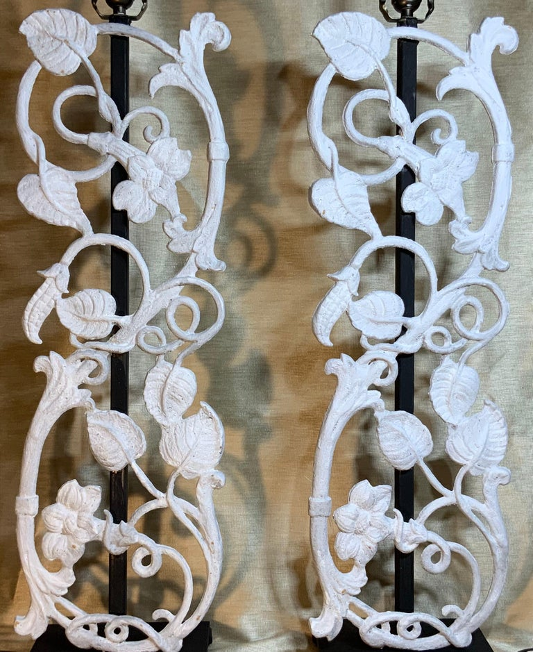 American Pair of Cast Iron Table Lamps For Sale