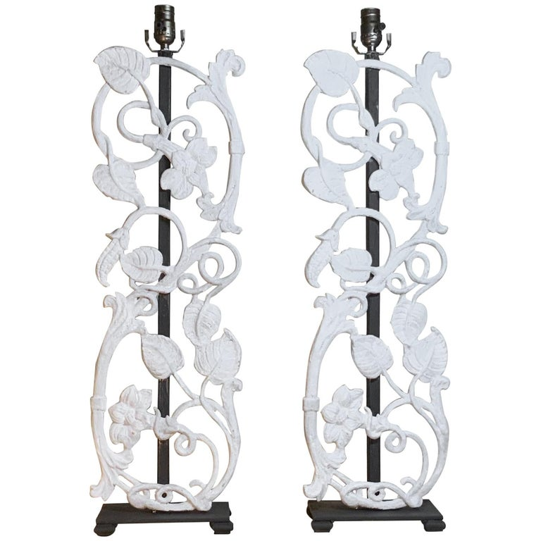 Pair of Cast Iron Table Lamps For Sale
