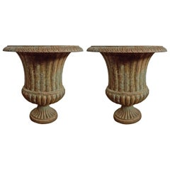 Pair of Cast Iron Urns