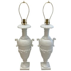 Pair of Cast Iron White Table Lamps, circa 1920s