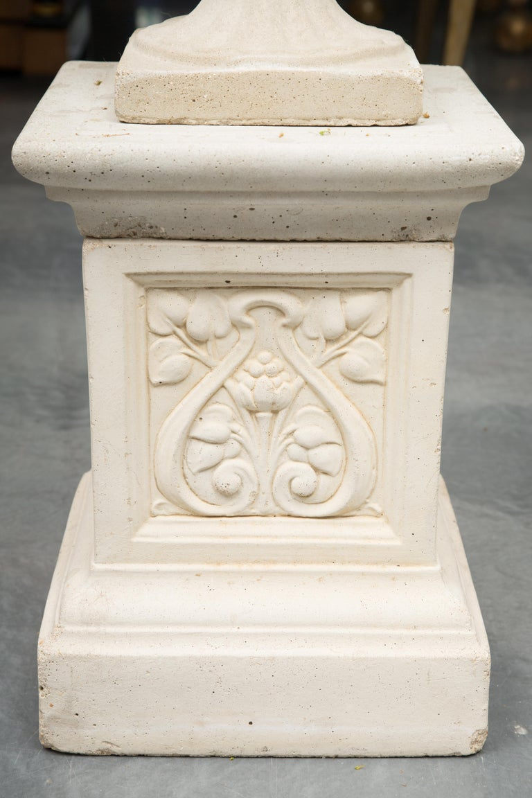 Pair of Cast Neoclassical Urns on Plinths For Sale 3