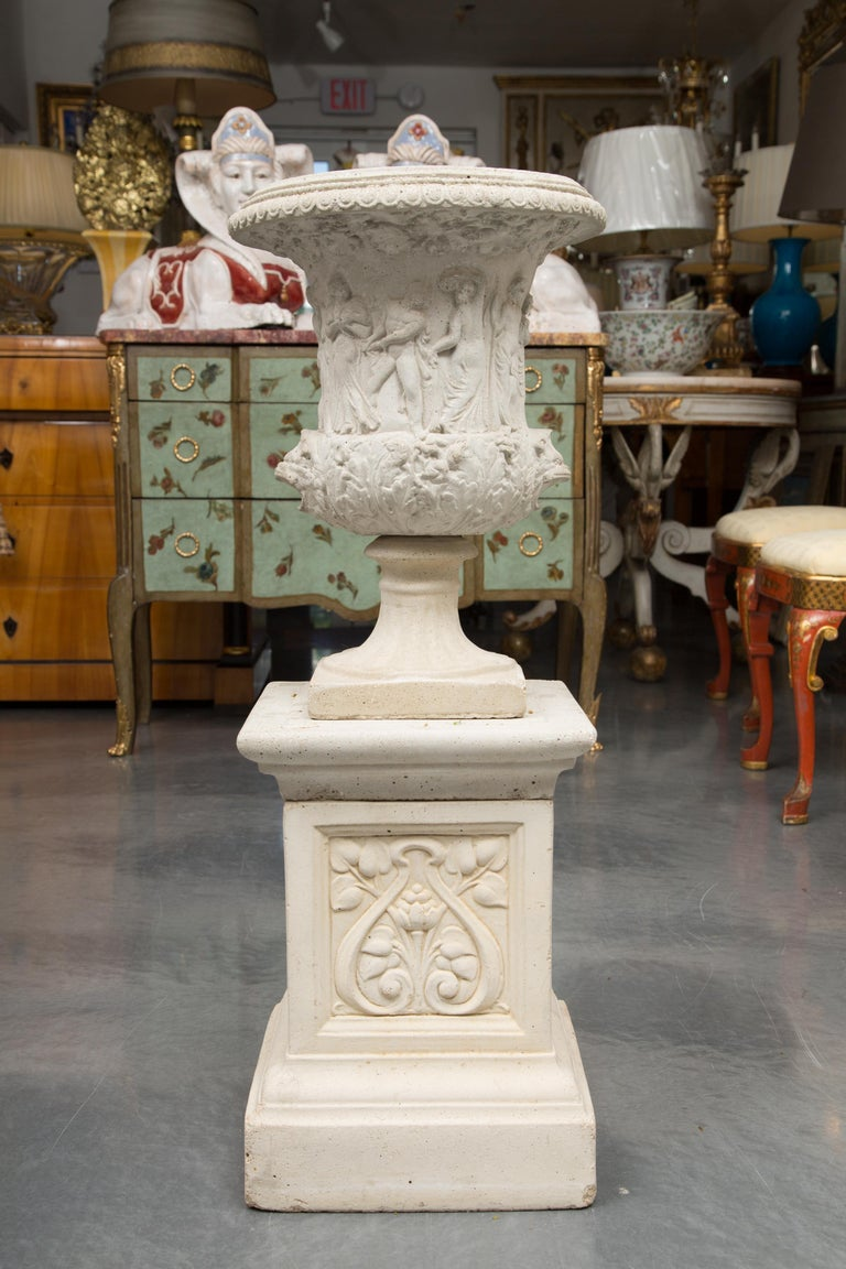 Pair of Cast Neoclassical Urns on Plinths For Sale 5