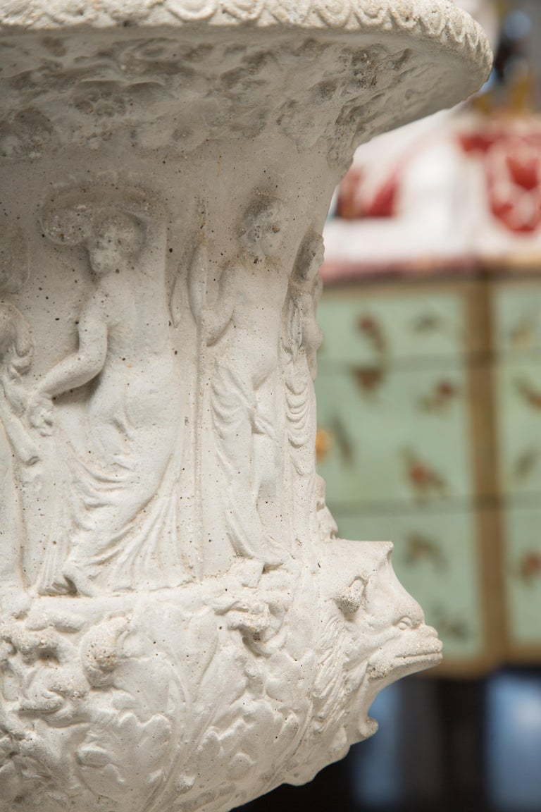 Pair of Cast Neoclassical Urns on Plinths In Good Condition For Sale In WEST PALM BEACH, FL