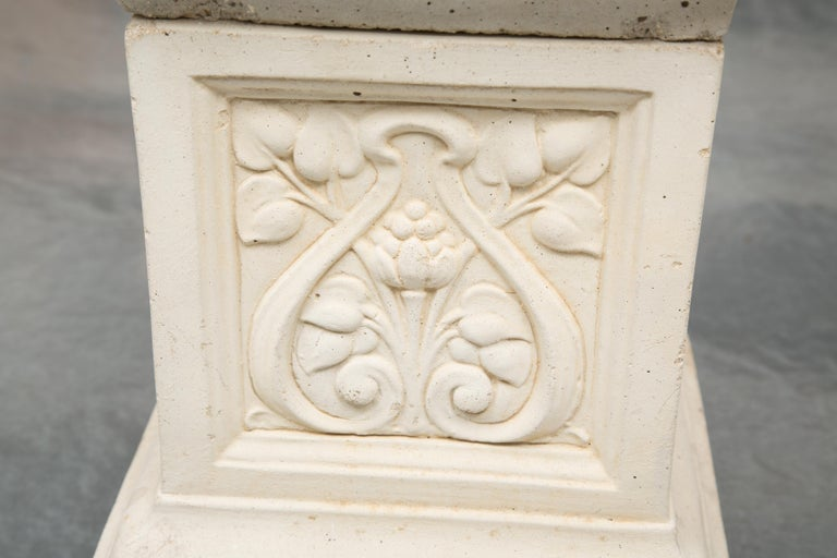 Cast Stone Pair of Cast Neoclassical Urns on Plinths For Sale