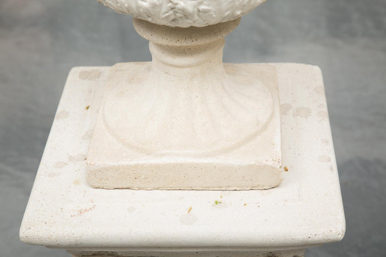 Pair of Cast Neoclassical Urns on Plinths For Sale 1