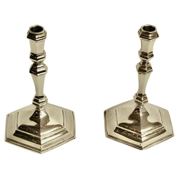 Pair of Cast Queen Anne Style Silver Taper Sticks, Spink & Son, 1964