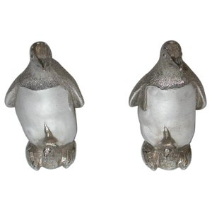 Pair of Cast Silver Penquin Pepper and Salt Shakers,Richard Comyns,London,1992