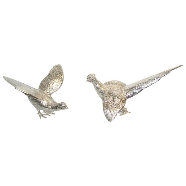 Pair of Cast Silver Plated Pheasants Dated circa 1950