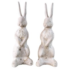 "Pair of Cast Stone ""Alice in Wonderland"" Rabbits"