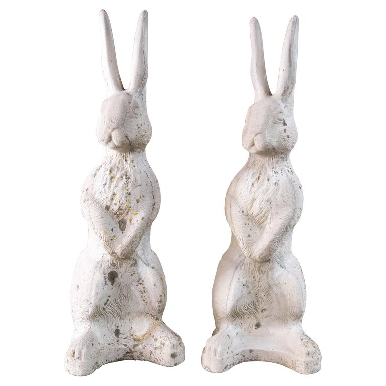 """Pair of Cast Stone """"Alice in Wonderland"""" Rabbits For Sale"""