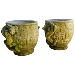 Pair of Cast Stone Dragon Decorated Planters